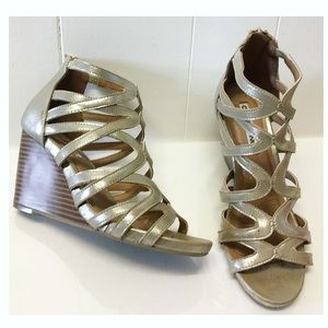 Celebrity Pink | Metallic Strappy Wedges Like New